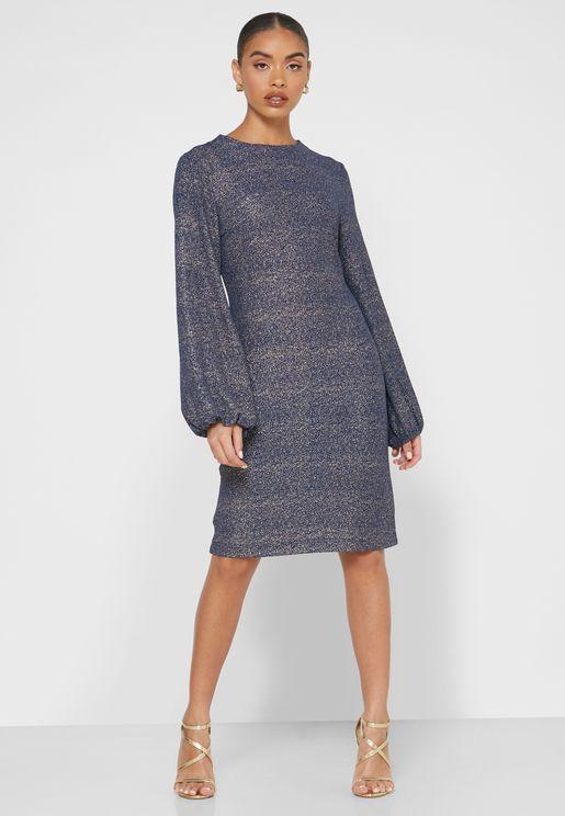 Sparkle Puffed Sleeve Mini Dress