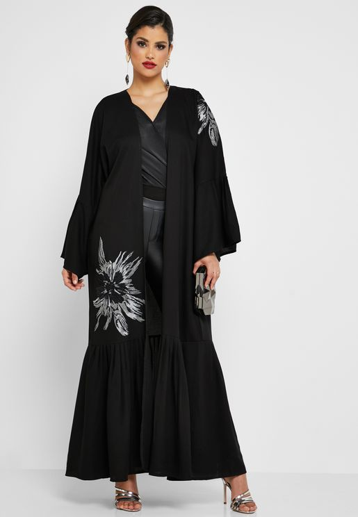 Floral Applique Pleated Hem Abaya