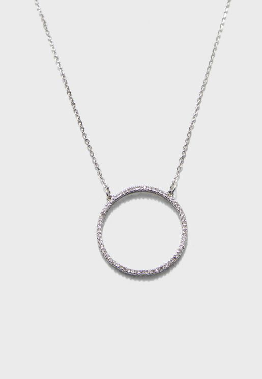 Longer Length Necklace With Ring Pendant