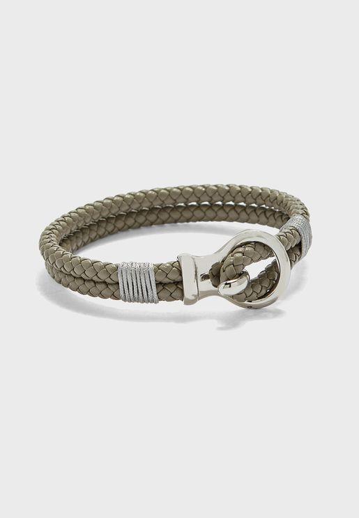 Hook Lock Leather Bracelt