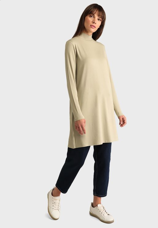 Polo Neck  Tunic Dress