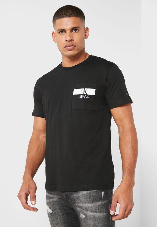 Horizontal Pocket Logo Crew Neck T-Shirt