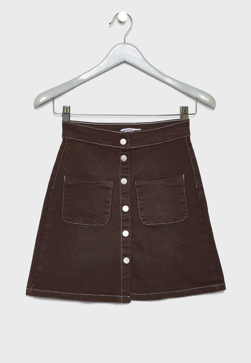 Kids Pocket Detail Button Down Skirt