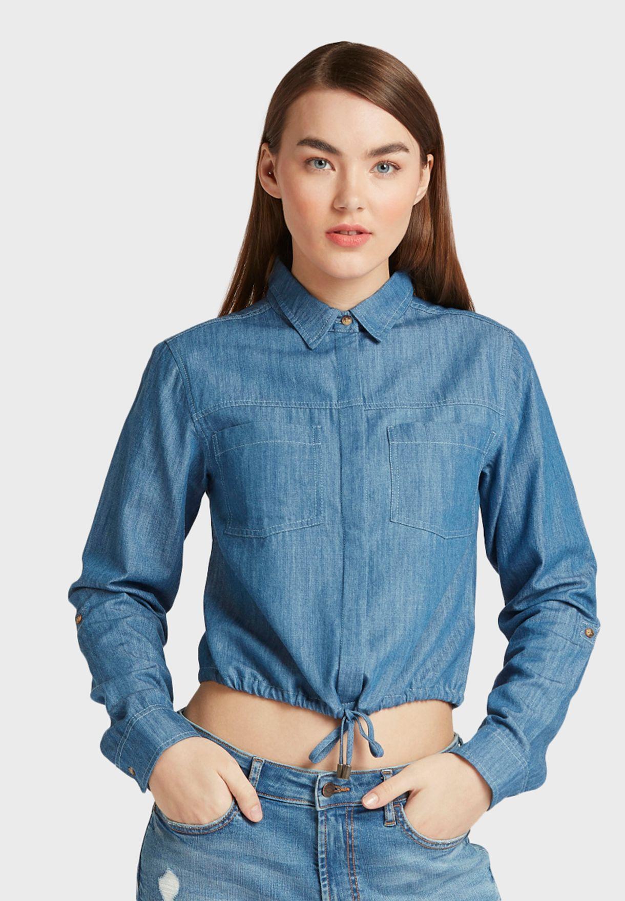 Front Tie Denim Crop Shirt