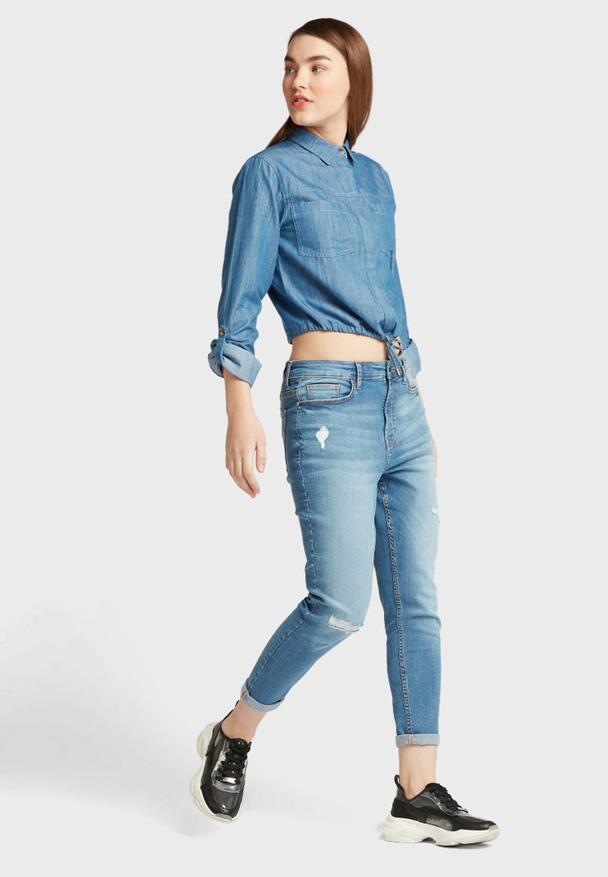 Front Tie Denim Crop Shirt