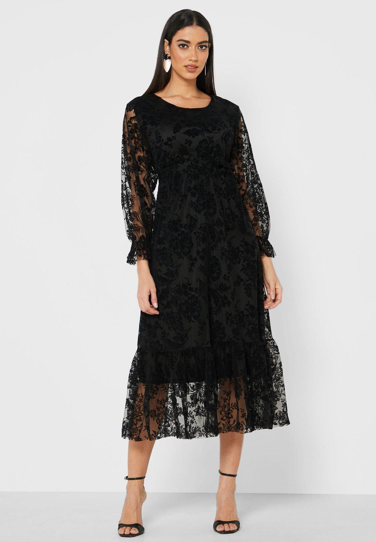 Lace Mesh Overlay Midi Dress