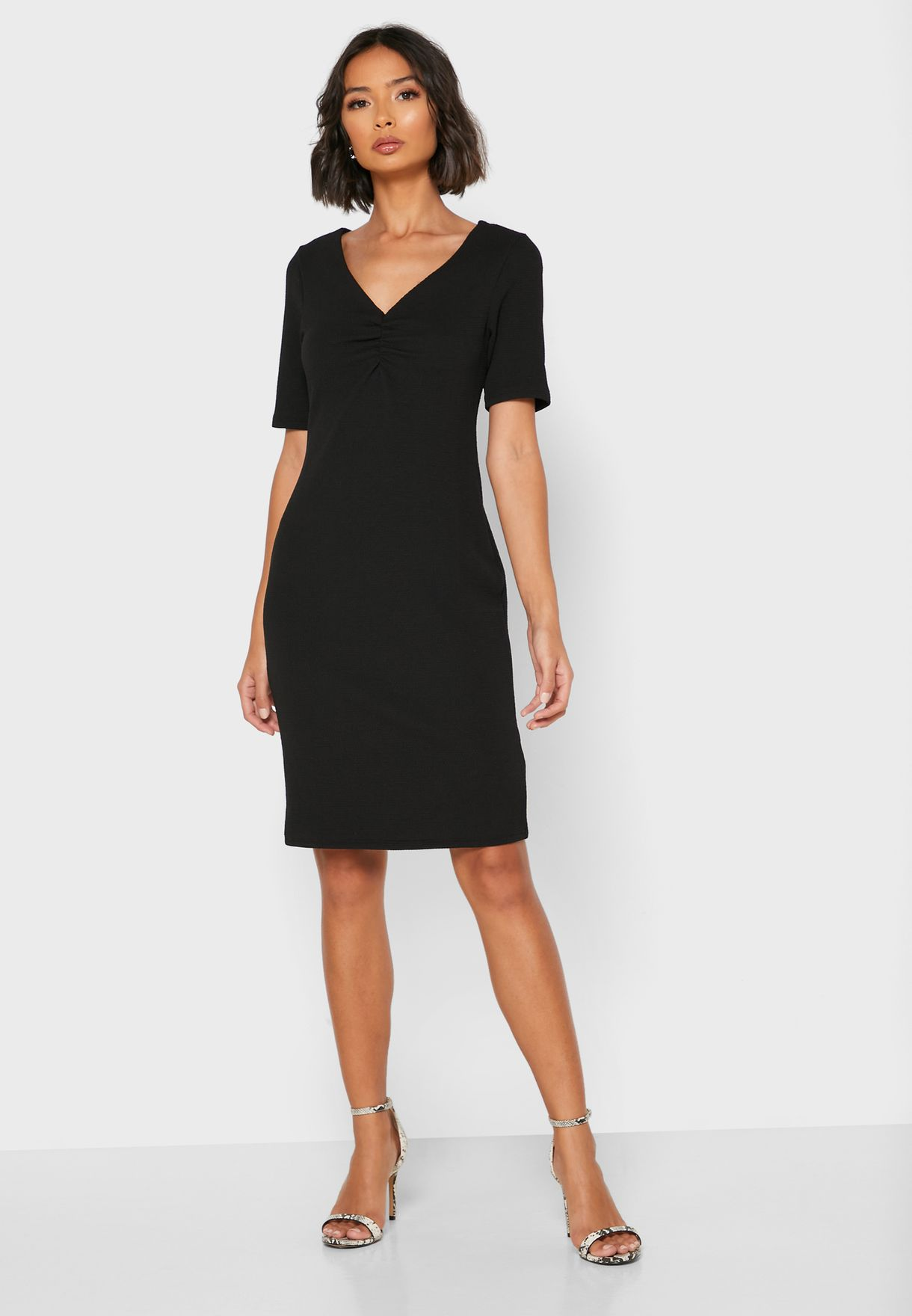Front Ruched Bodycon Dress