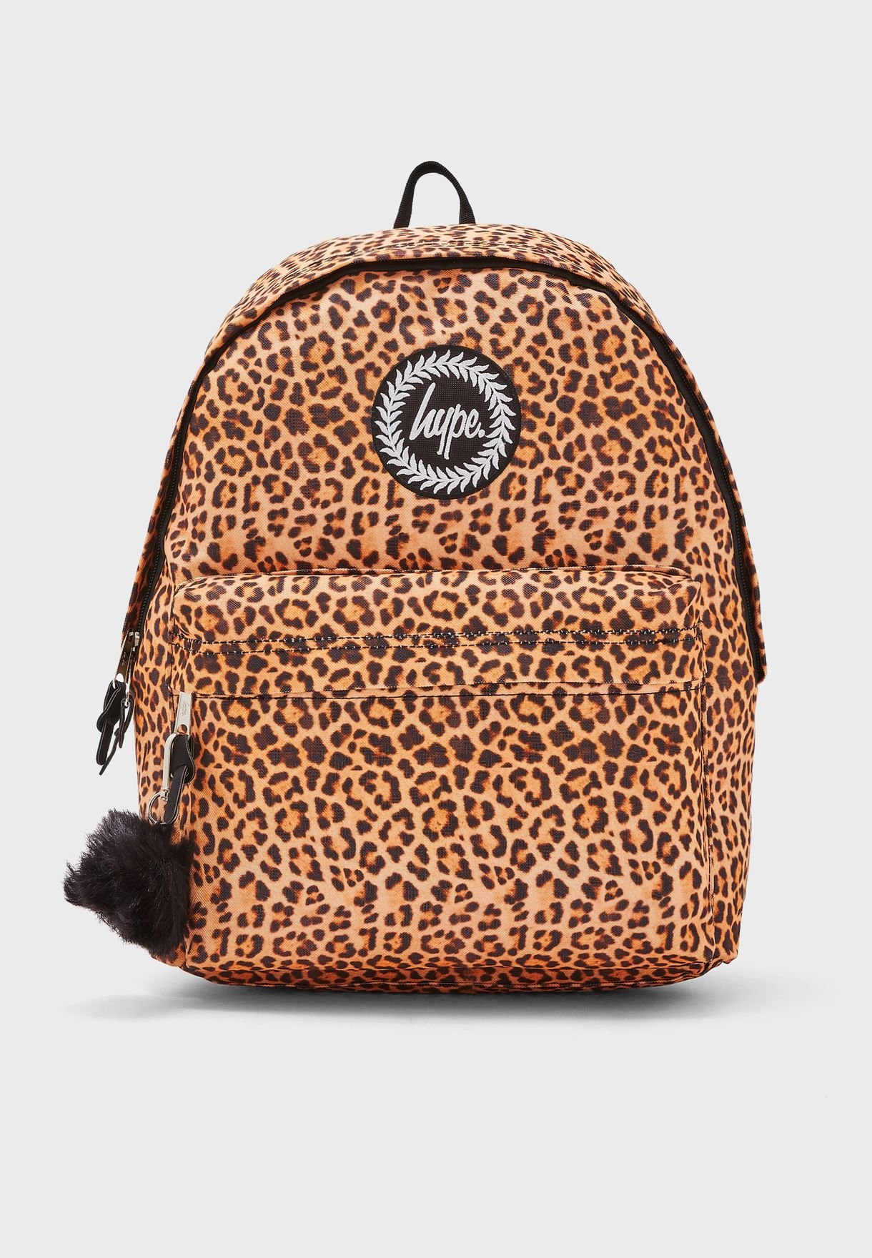 Leopard Pom Pom Backpack