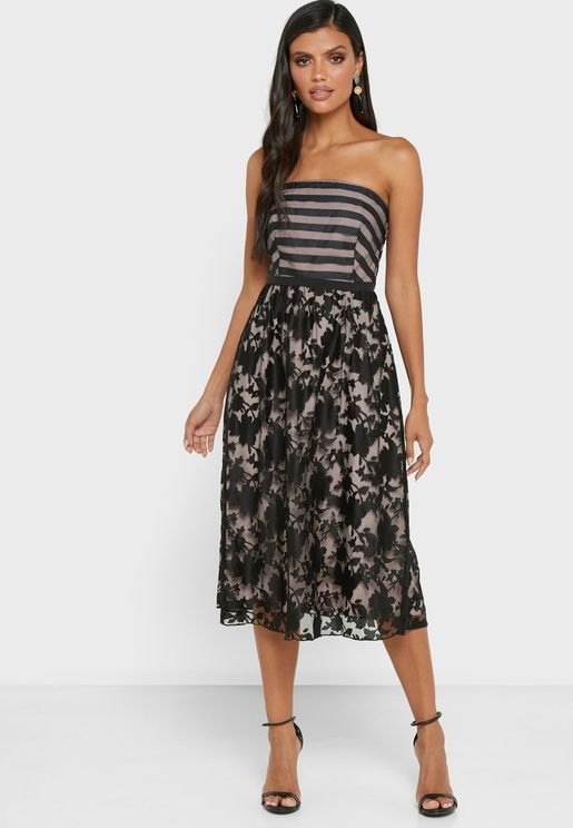 Bandeau Printed Dress