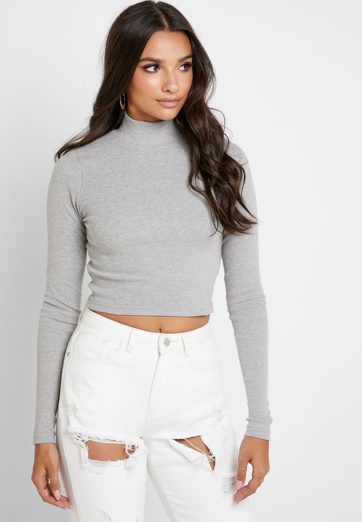 2 Pack Ribbed High Neck Top