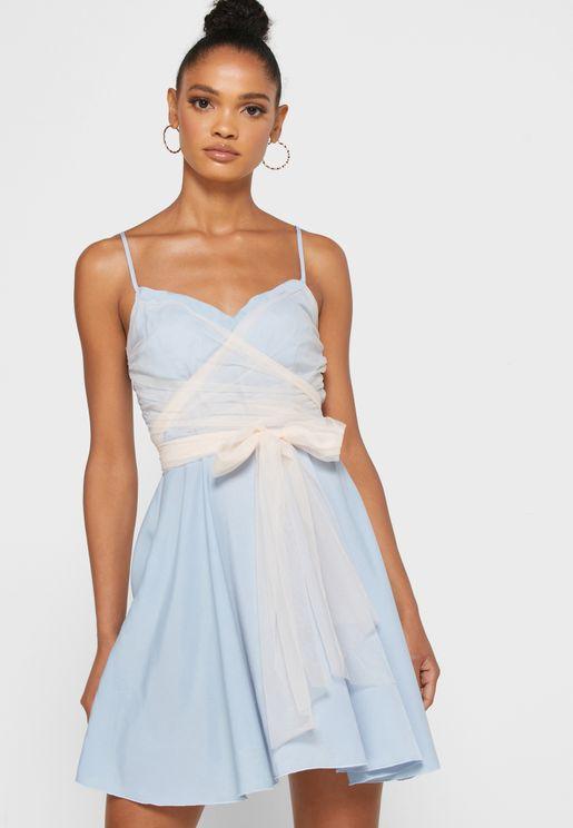 Mesh Front Mini Dress