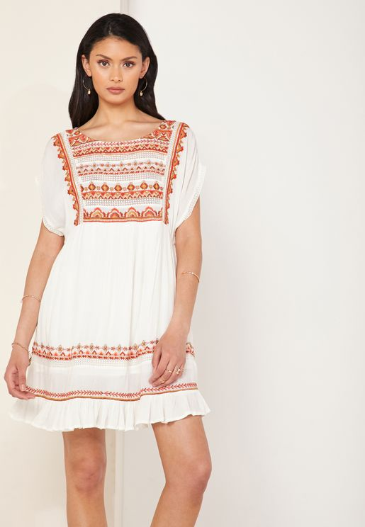 Sunrise Wanderer Embroidered Detail Dress