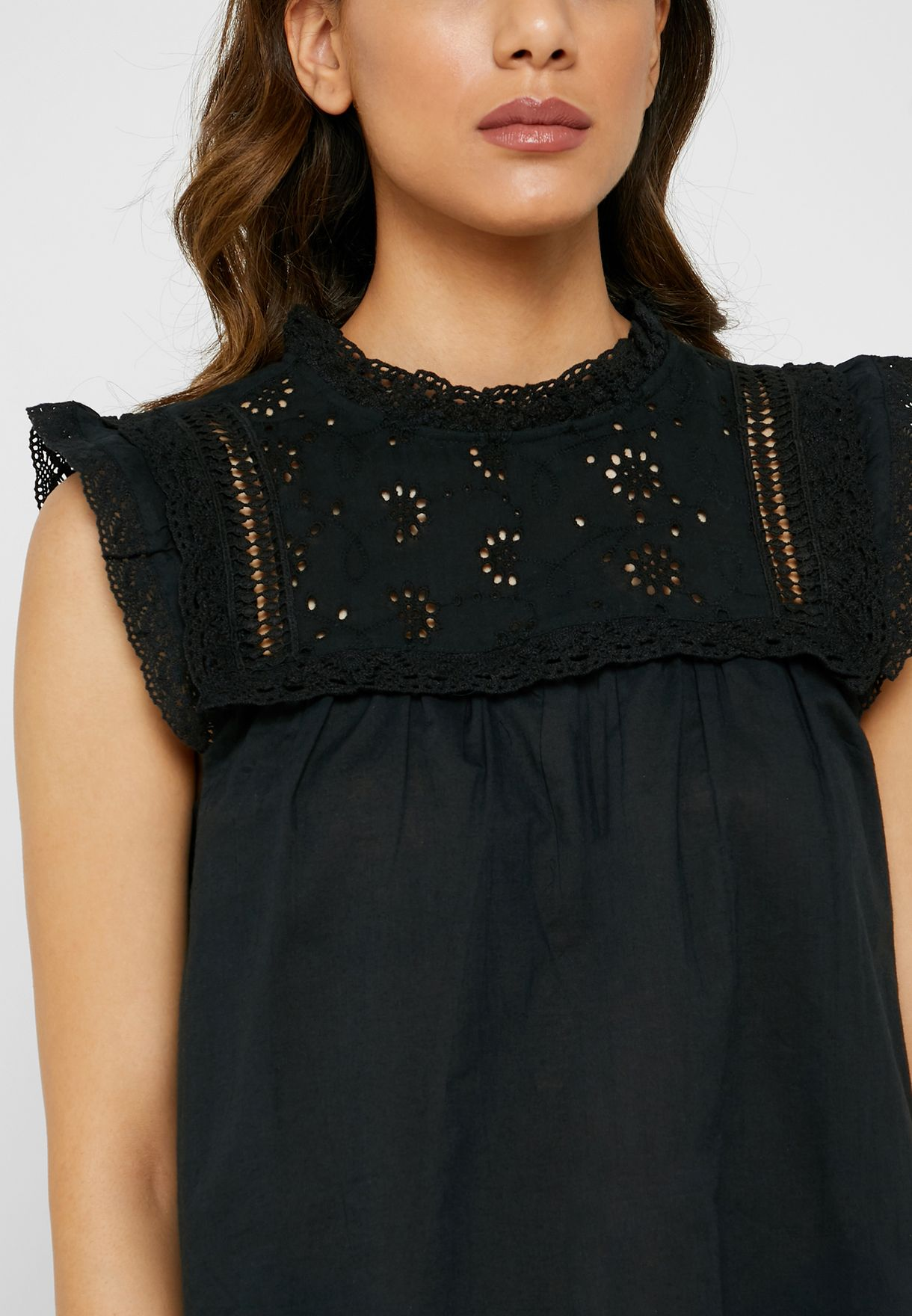 Ruffle Detail Broderie Top