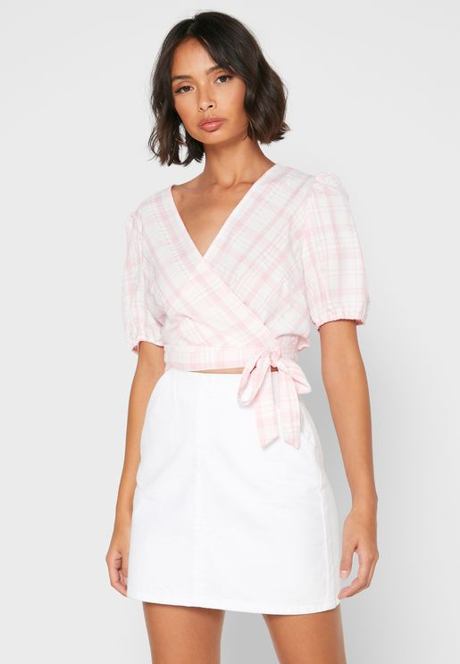 Puff Sleeve Checked Wrap Top