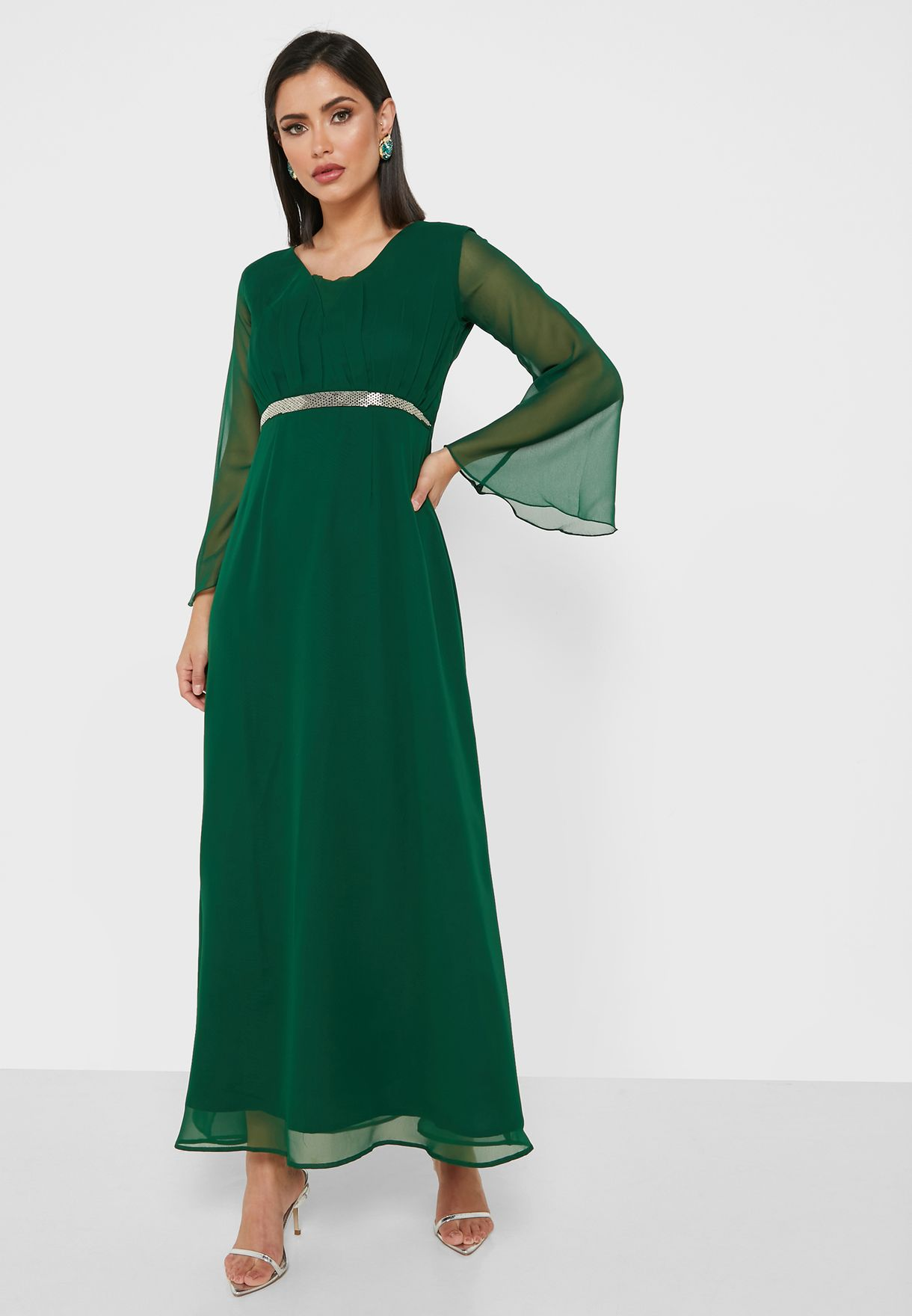 Flared Sleeve Embroidered Dress
