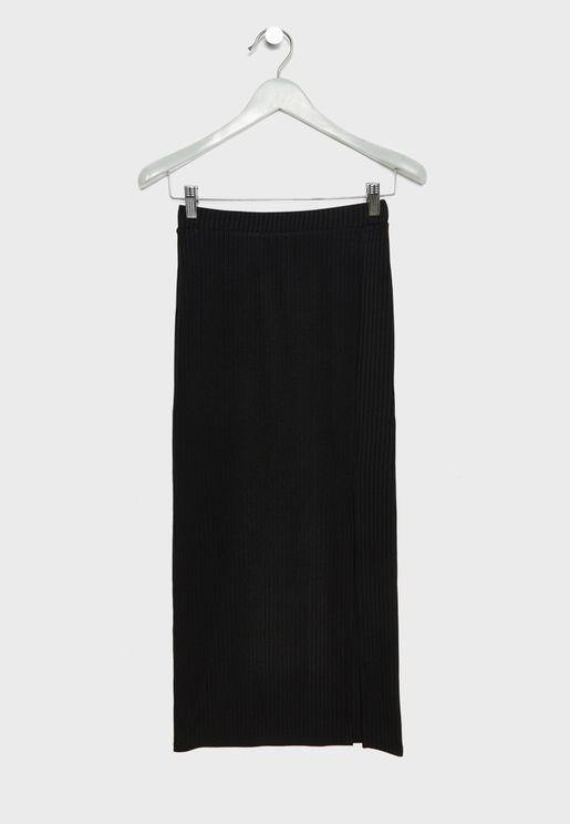 Teen Side Slit Maxi Skirt