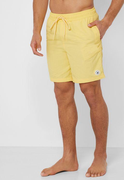 Nylon Solid Swim Shorts