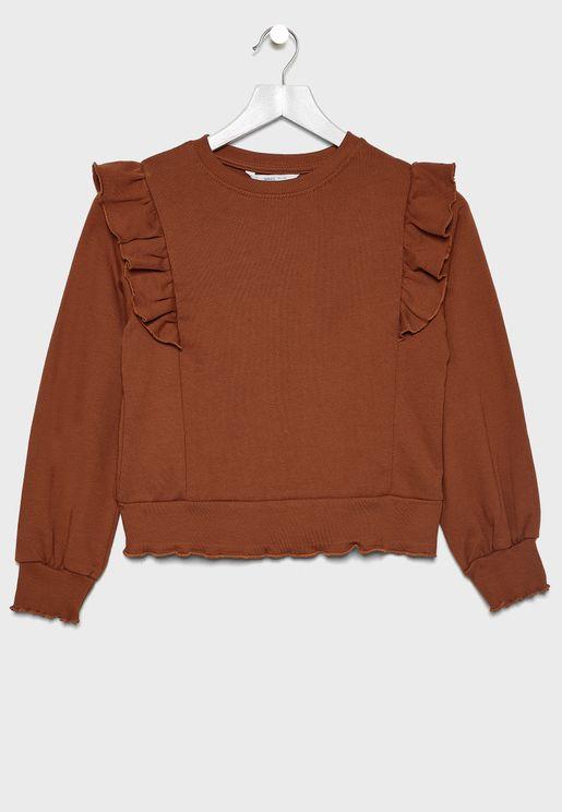 Kids Ruffle Sleeve Sweatshirt