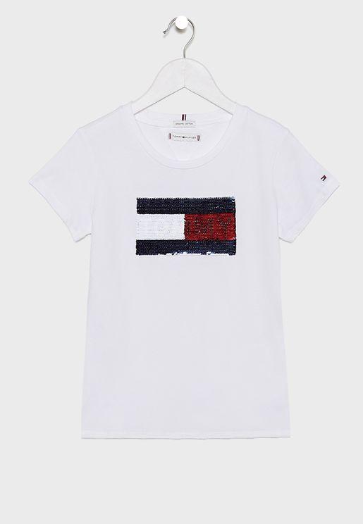 Little Flag Flip Sequins T-Shirt
