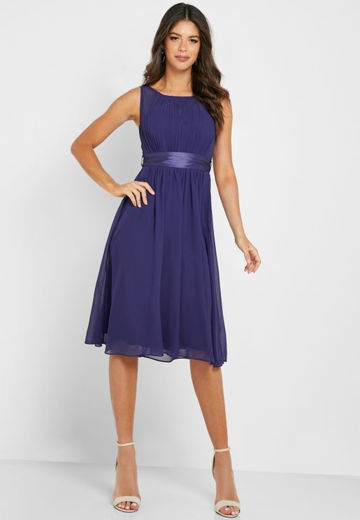 Pleated Belted Prom Dress