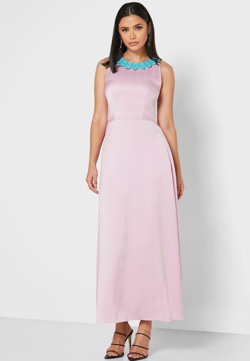 Julianne Embellished Tiered Maxi Dress