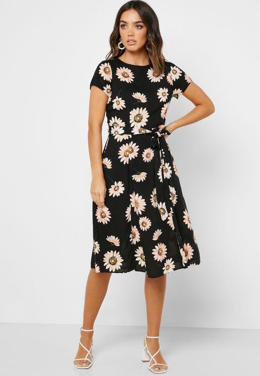 Tie Waist Floral Print Dress