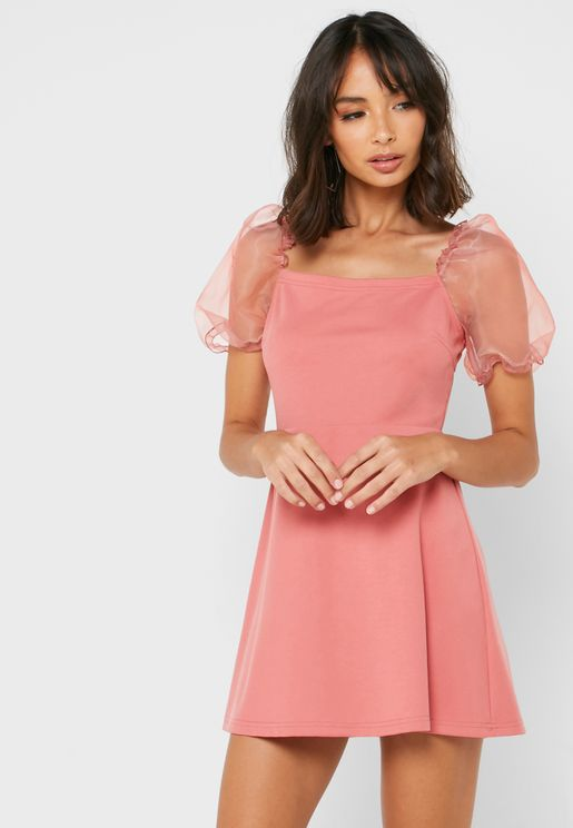 Oraganza Puff Sleeve Skater Dress