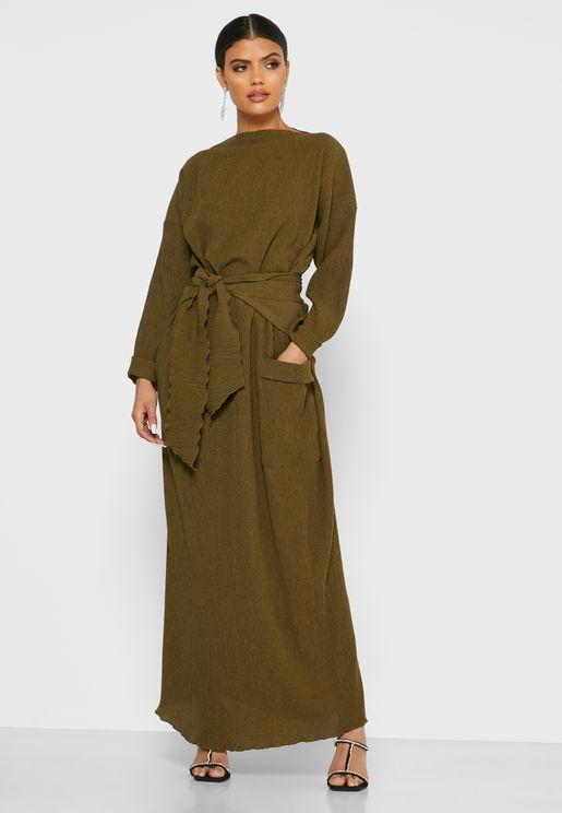 Belted Pocket Maxi Dress