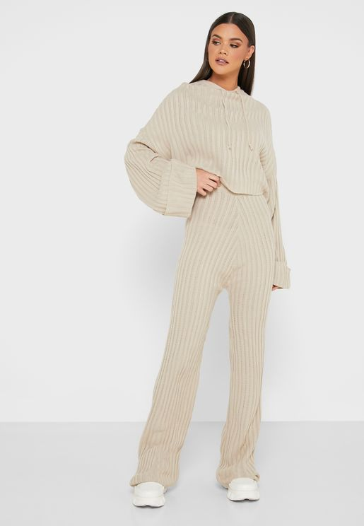 Knitted Hoodie Jogger Lounge Set