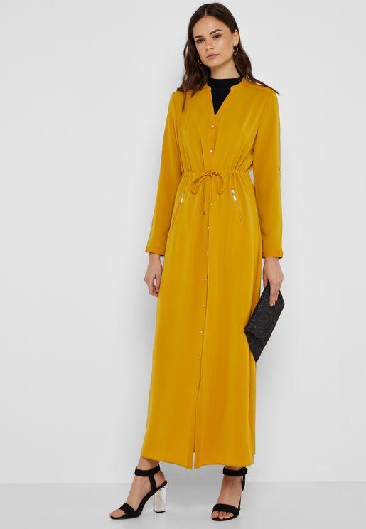 Zip Detail Tie Waist Maxi Dress