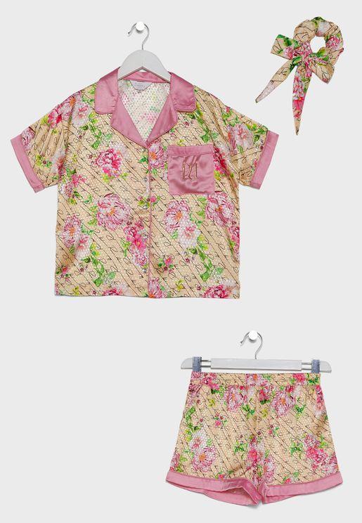Kids Floral Shirt + Shorts Pyjama Set