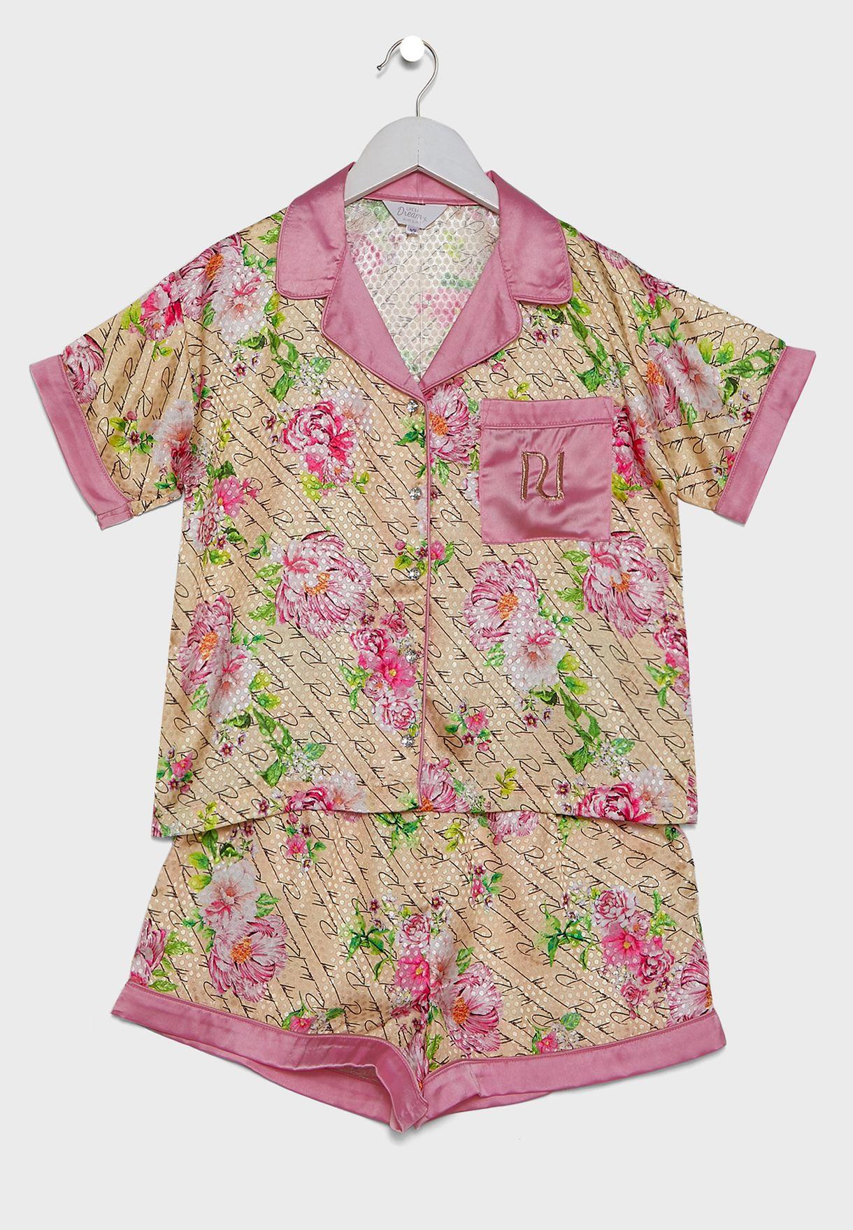 طقم بيجاما (قميص + شورت)