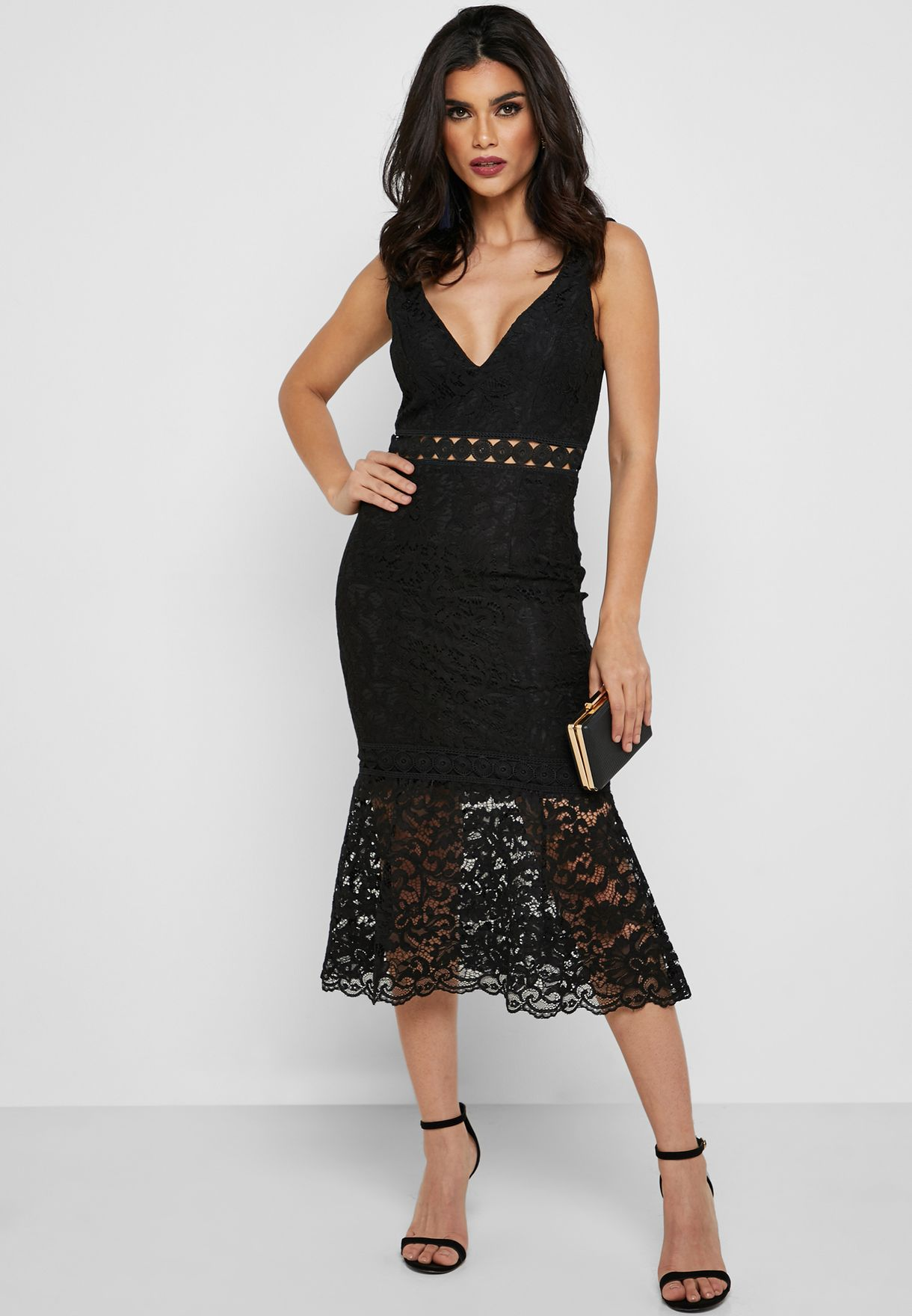 Lace Plunge Bodycon Midi Dress