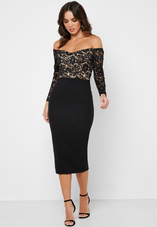 Lace Top Bardot Midi Dress