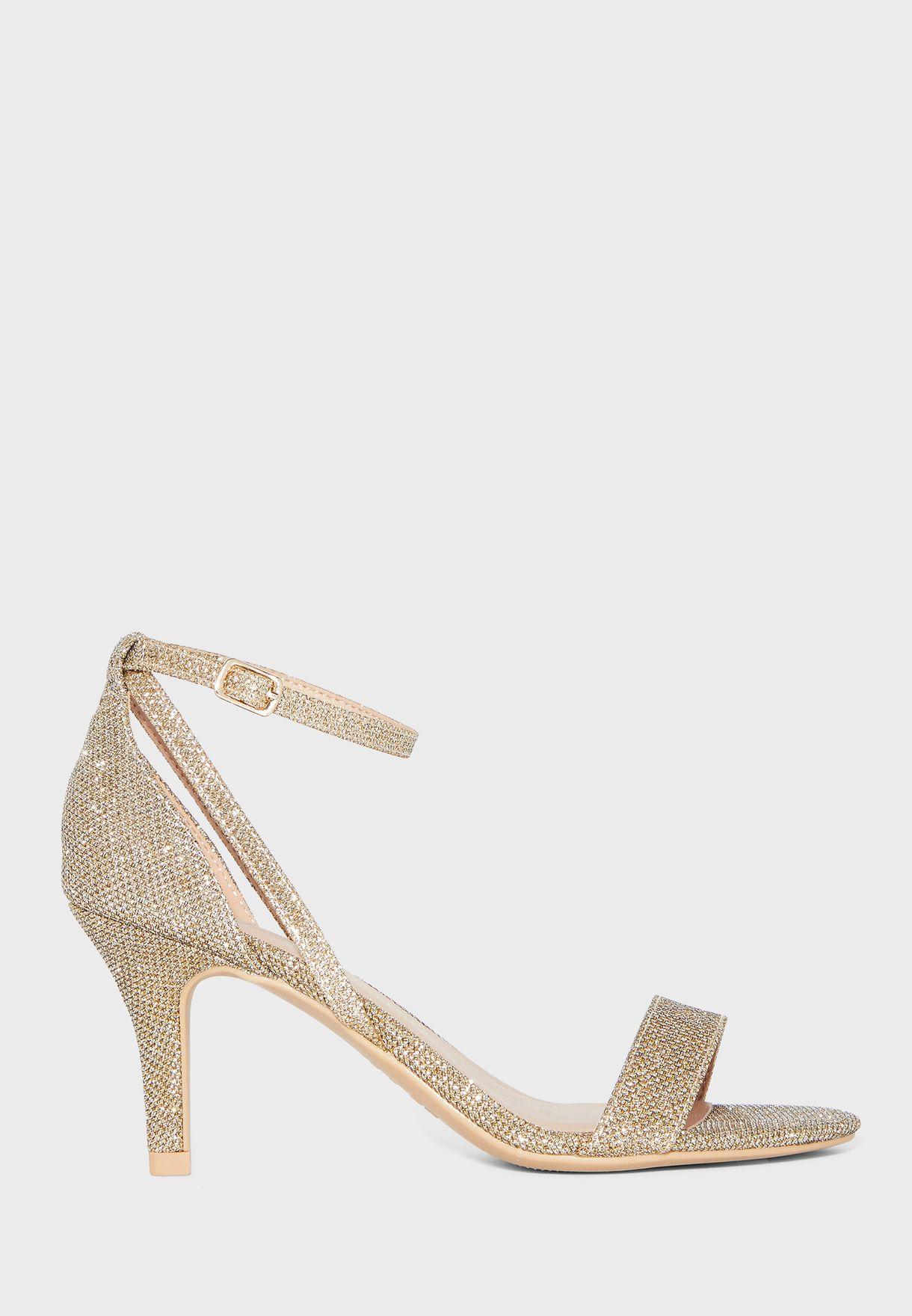 Trinny Wide Fit Ankle Strap Kitten Heel Sandal