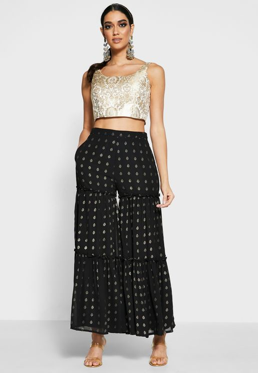 Black Foil Tiered Sharara Pants