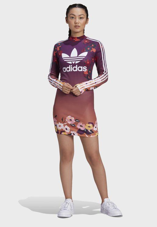 فستان بنمط تيشيرت بخطوط الماركة