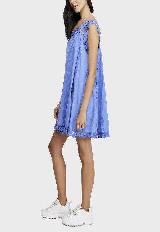 Billie Battenburg Lace Trim One Shoulder Dress