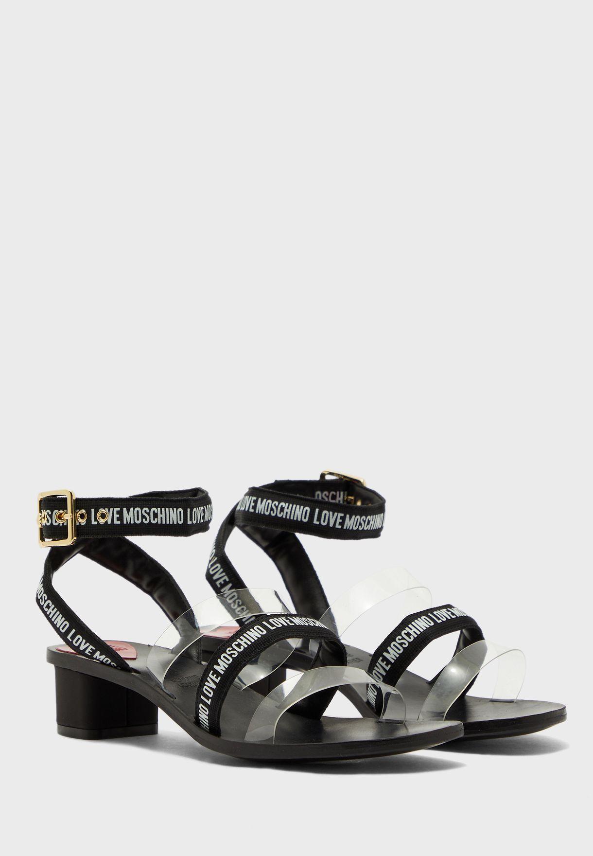 Multi Strap Low Heel Sandal - Trasparente