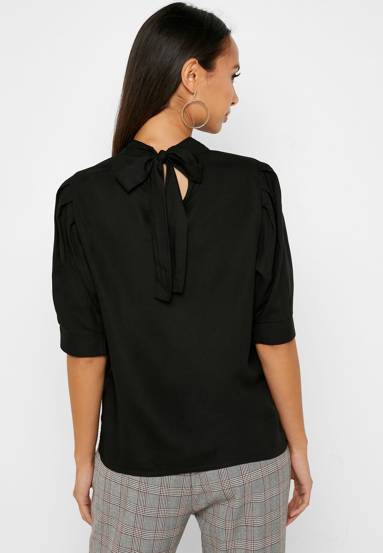 High Neck Pleated Sleeve Top