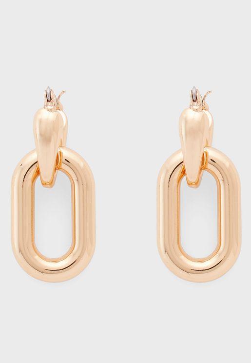 Oblong Drop Hoop Earrings