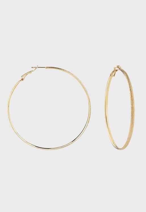 Diamond Pattern Hoops Earrings