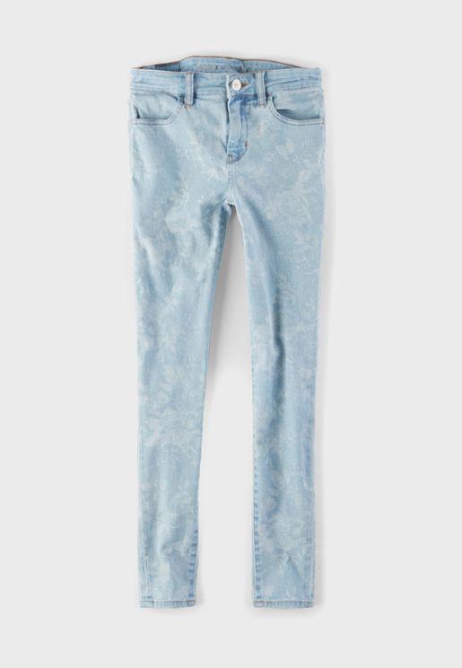 بنطال جيغنز بخصر عالي