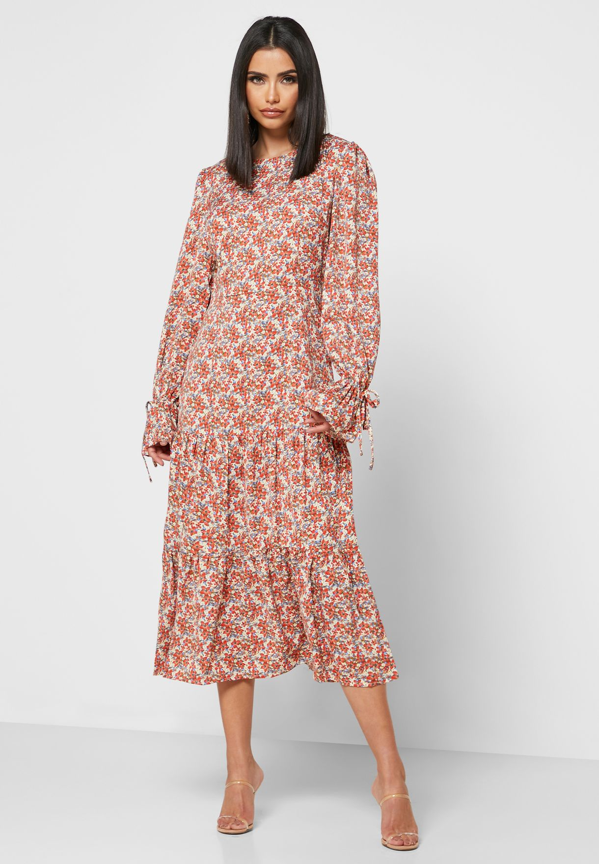 Tiered Hem Floral Print Dress