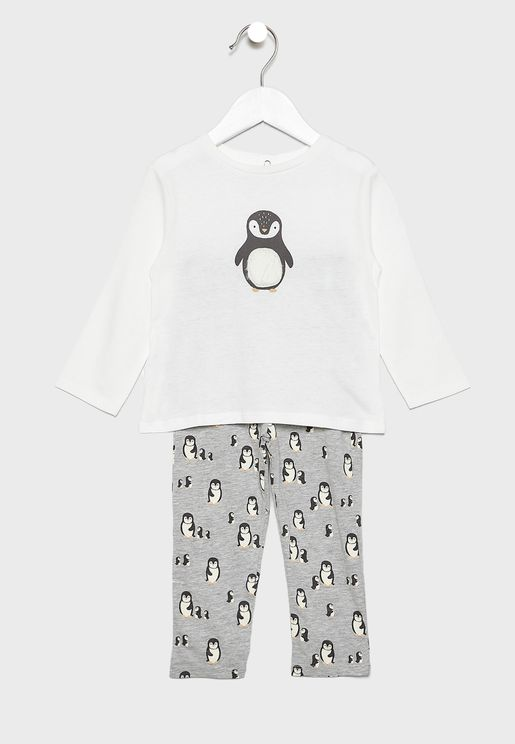Kids Penguin T-Shirt + Pyjama Set