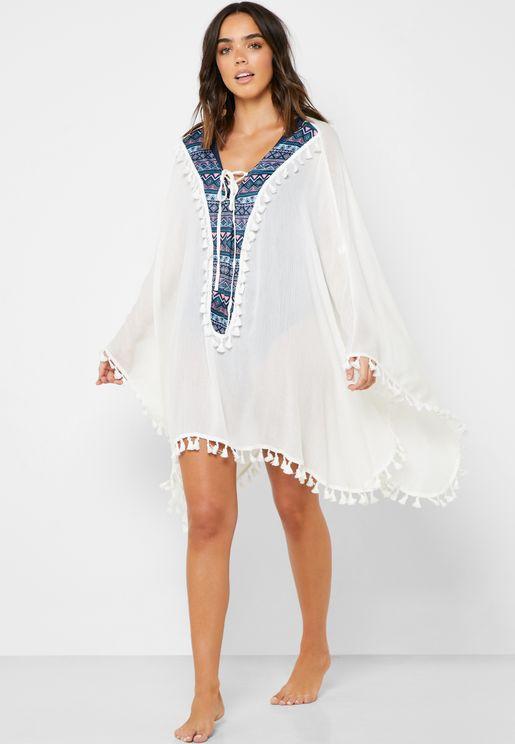 فستان بحر شفاف بشراشيب