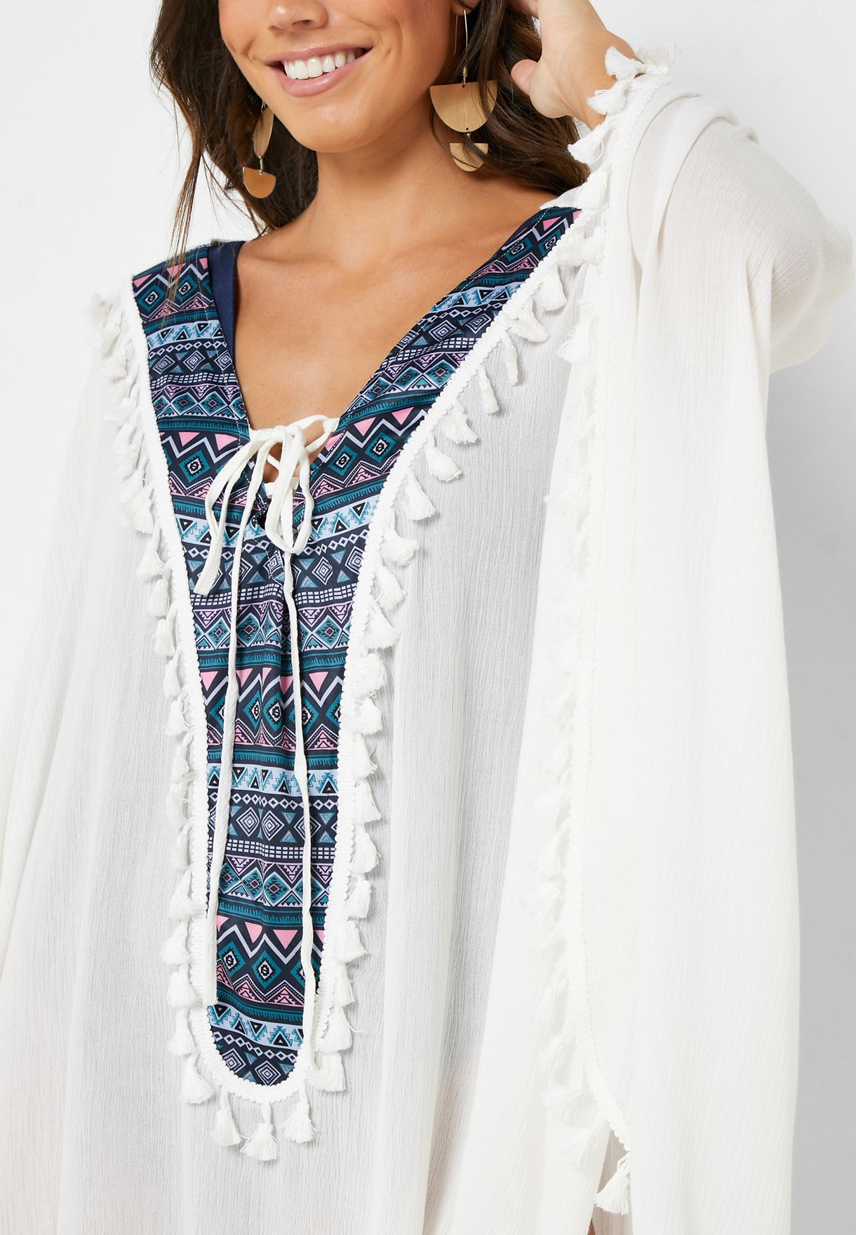 Tassel Detail Sheer Beach Dress