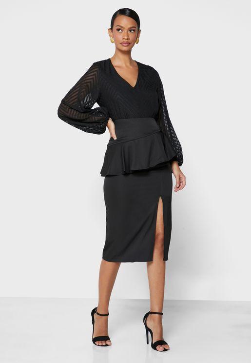 Peplum Slit Skirt