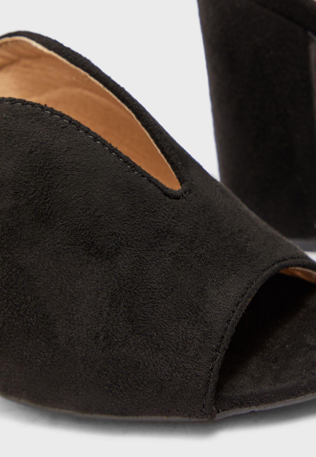 Deep-V Peeptoe Block Heel Mule