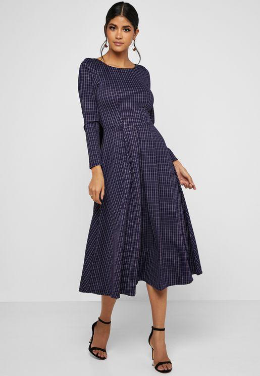 Front Pleated Midi Dress